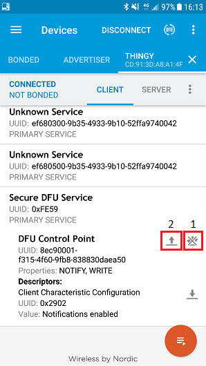 Nordic Thingy:52 v2 2 0 : OTA-DFU with nRF Connect